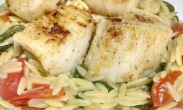 Pan Seared Scallops with Warm Mustard Orzo Salad