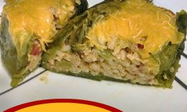 Rice and Cheese Green Chile Rellenos