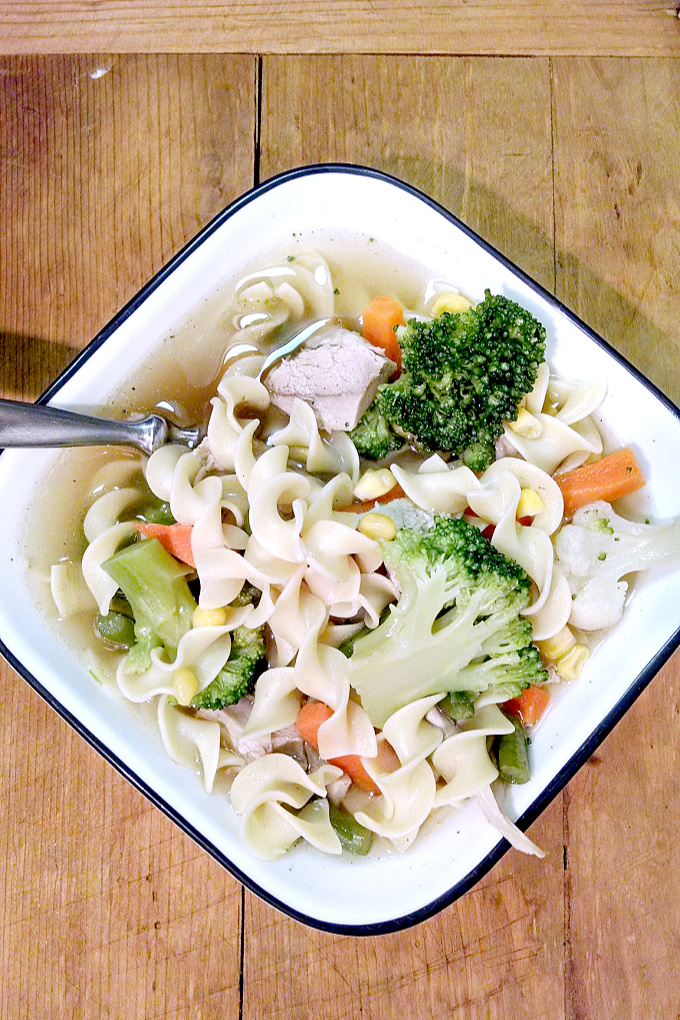 Leftover turkey and some veggies simmer in this Easy Slow Cooker Turkey Minestrone. Noodles are added towards the end to make this a hearty dinner soup.