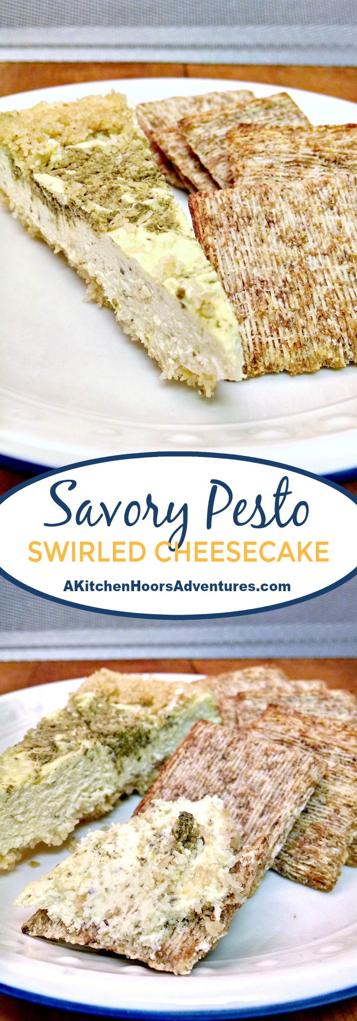 Savory cheesecakes are delicious little surprises!  They're a perfect appetizer for your family gatherings or parties.  This Savory Pesto Swirled Cheesecake is packed with basil flavor and easy to prepare.