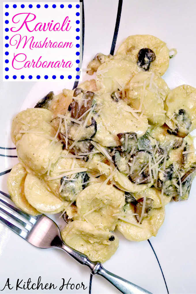 Ravioli Mushroom Carbonara for a Quick #MeatlessMonday Meal.  Ravioli make the most delicious pasta to use for this carbonara.  The combination of Parmesan and ricotta is just delicious!