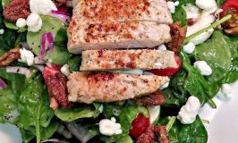 Spinach Salad with Pork and Pomegranate Poppyseed Dressing