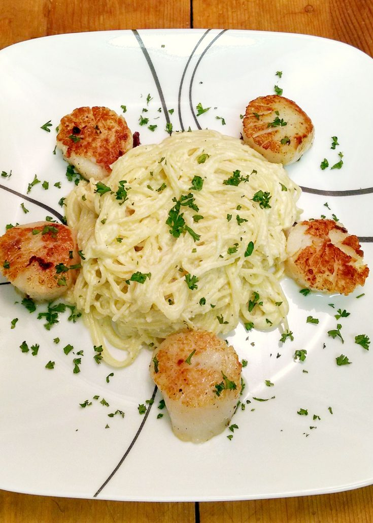 Creamy ricotta makes this sauce fantabulous!  Ricotta Carbonara with Scallops will change the way you think about carbonara pasta.