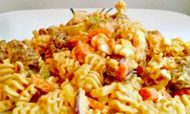 Buffalo Chicken Pasta Salad uses leftover boneless buffalo chicken wings to make a deliciously quick and spicy weeknight dinner, but you could use any boneless and skinless chicken you have available.