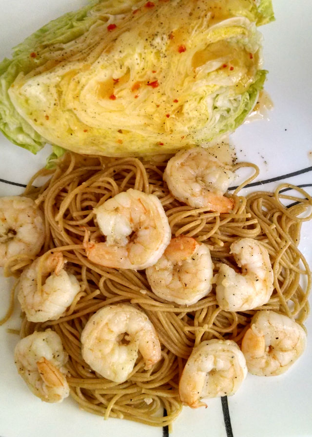 Asian style salt and pepper shrimp is tossed, scampi style, with pasta. A mashup of Italian and Asian cuisines makes for a delicious Salt and Pepper Shrimp Scampi.