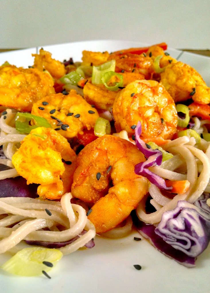 To keep the peanut dressing low fat, I've used PB2 powder in this Satay Shrimp and Udon Salad. You get all the peanut butter flavor without all the fat.