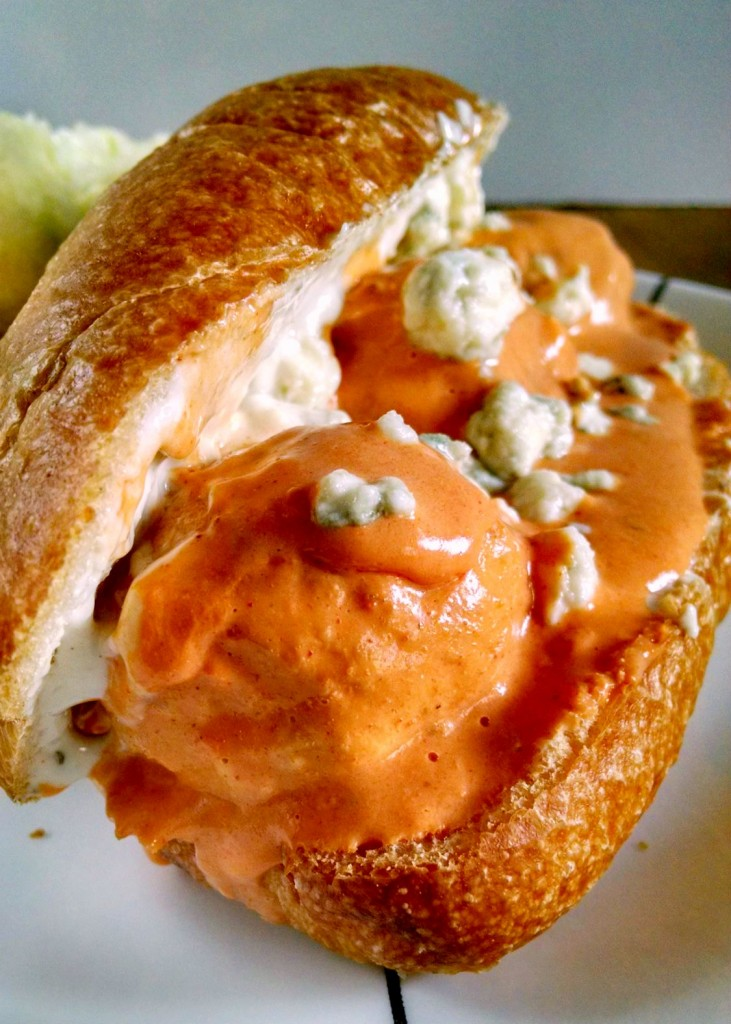 A Kitchen Hoor's Adventures: #10DaysofTailgate - Slow Cooker Buffalo Chicken Meatball Sliders with Blue Cheese Aioli