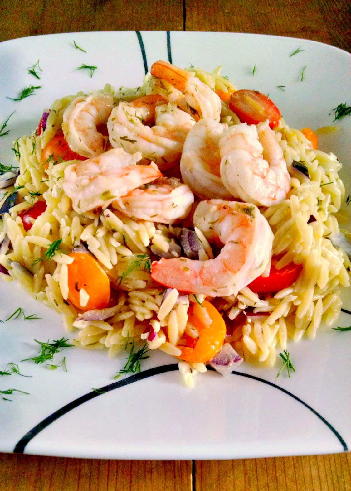 Lemon Dill Orzo Shrimp Salad