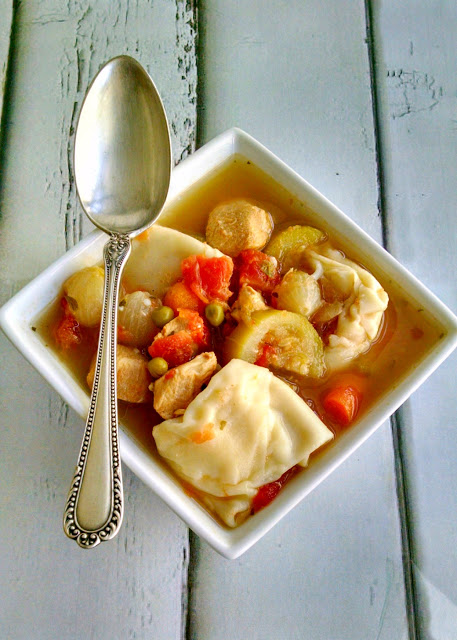 A Kitchen Hoor's Adventures - Left over wonton skins are the reason for this Chicken Minestrone with Goat Cheese Dumplings.