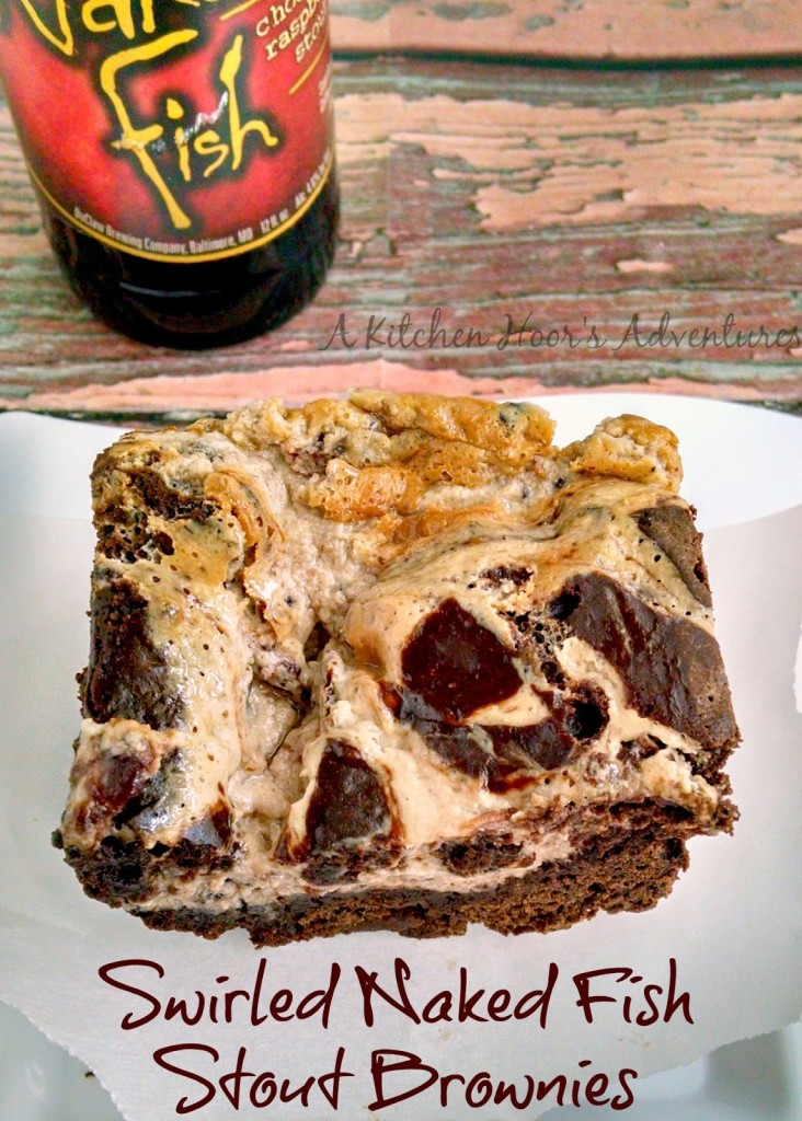 A Kitchen Hoor's Adventures | Swirled #NakedFish Stout Brownies @DuClawBrewing - Ditch the wine and drink beer this Valentine's Day!