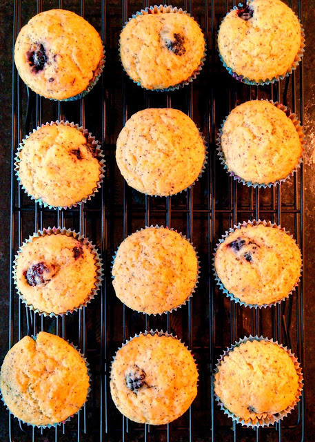 Spring and lemons just go together like peanut butter and jelly. In honor of Spring, I made these moist and light Lemon Blackberry Poppyseed Muffins  adapted from Tara's Multicultural Table.