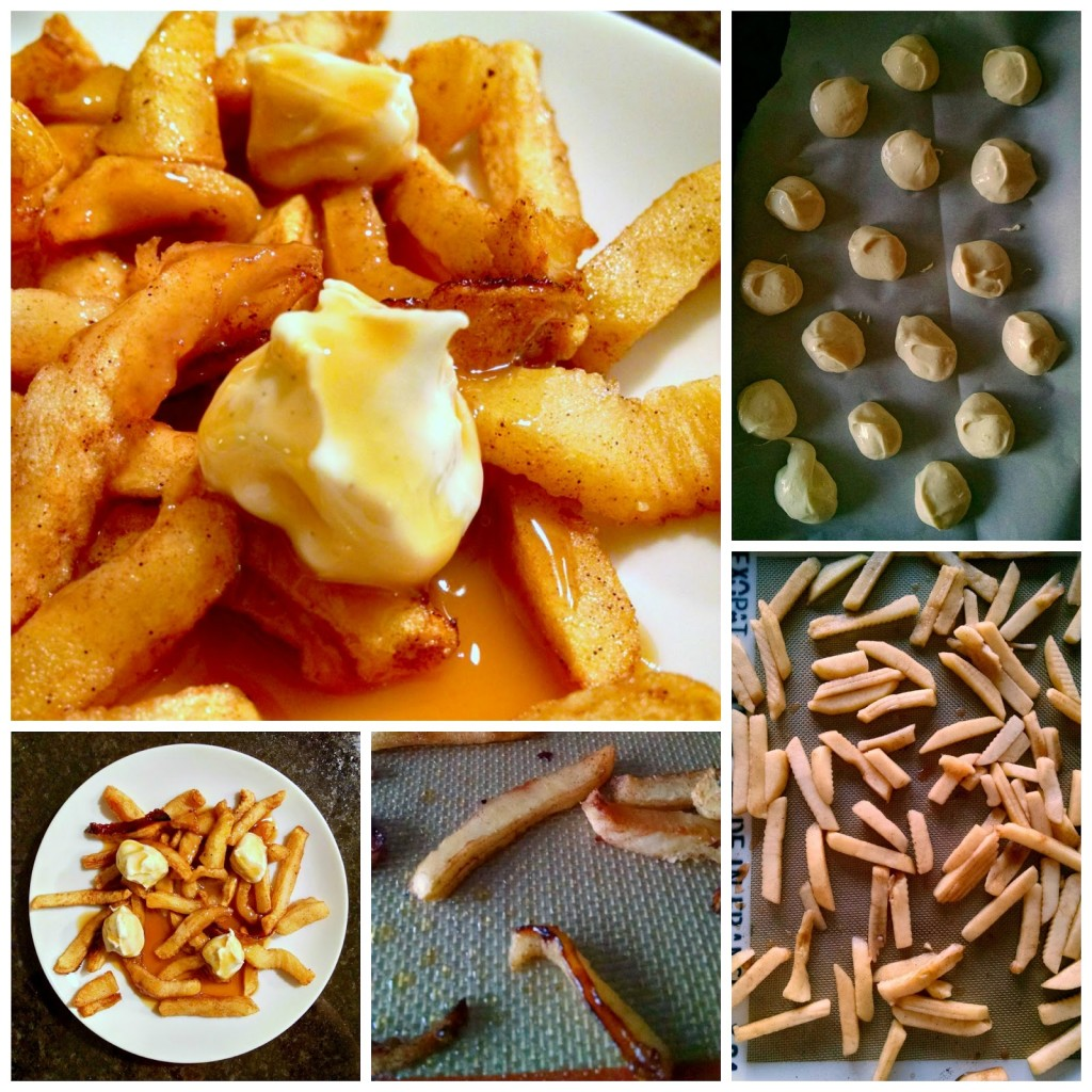 Poutine for Dessert - #SundaySupper April Fool's Fake Out Food - This is a dessert variety with apple fries, caramel gravy, and cheesecake curds.