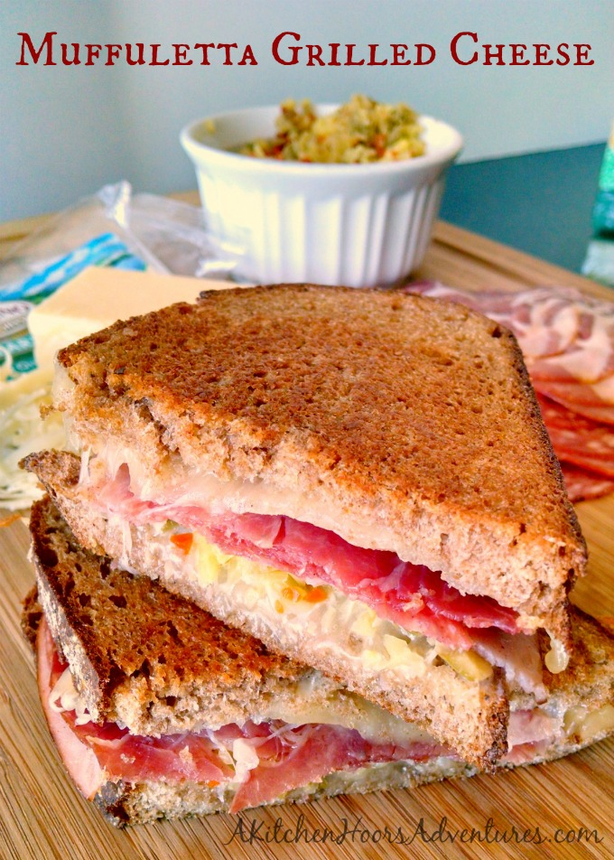 With all the flavors of a traditional Muffaletta sandwich, this Muffaletta Grilled Cheese using Rumiano Cheese is a delicious and family friendly version of the New Orleans tradition 'wich.