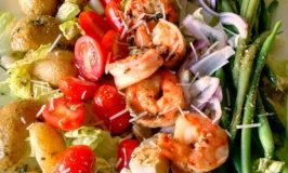 Grilled Shrimp Salad Nicoiseis topped with shrimp instead of tuna; making for a delicious twist to this hearty salad.
