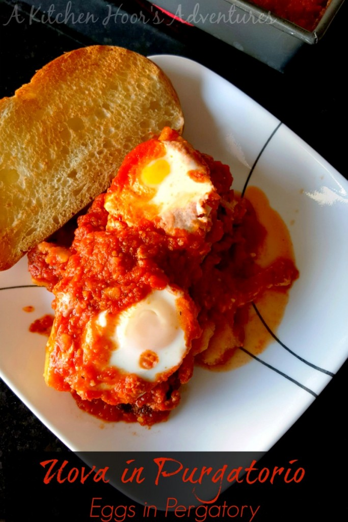 Egg souls trapped in Purgatory red sauce a.k.a. Uova in Purgatorio is a delicious and simple recipe. Making the sauce the day before is a time saver on a busy #MeatlessMonday.