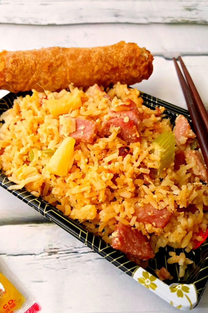 This Hawaiian pizza inspired fake-out food, Hawaiian Fried Rice has lots of flavor and cooks up quick for any night of the week.