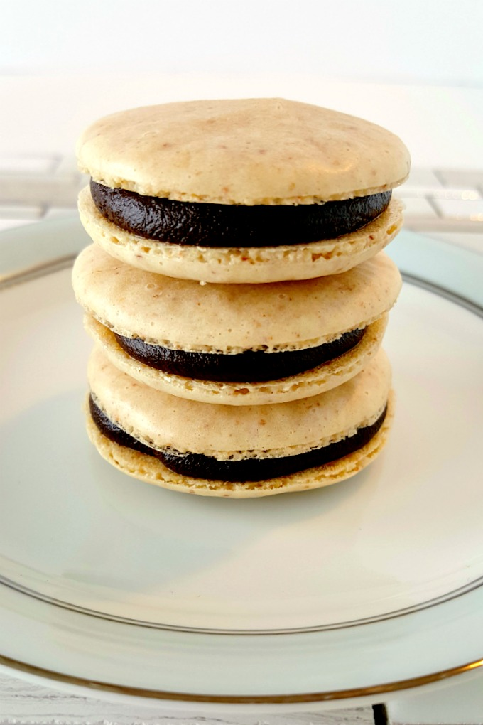 These Peanut Butter and Chocolate Macaron have amazing flavor from the Jif™ Peanut Powder baked into the shells. #StartWithJifPowder!
