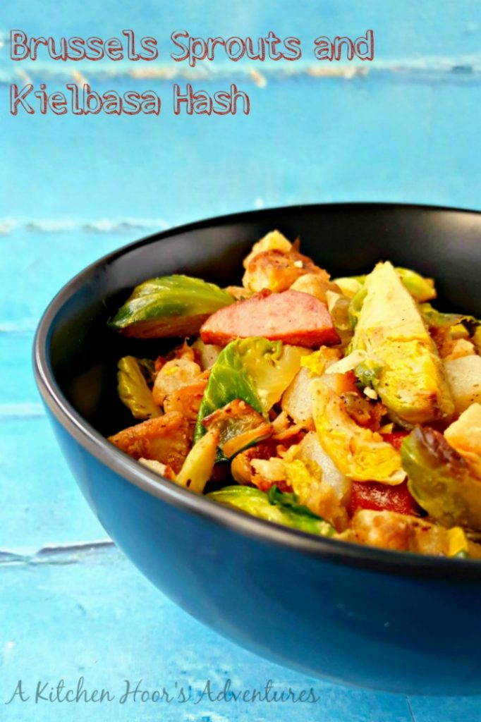 A pantry staple in this house is turkey kielbasa. It's such a versatile ingredient to have on hand for pastas, sandwiches, or even this Kielbasa and Sprouts Hash.