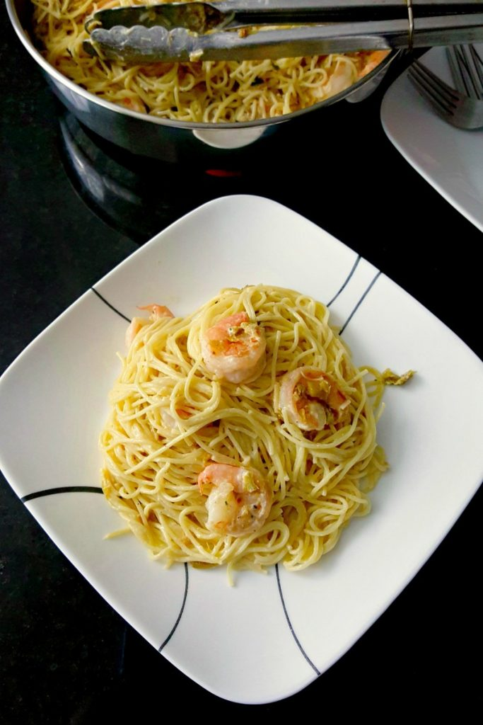 Pasta Carbonara with Shrimp and Leeks is a fast paced recipe that tastes amazing and is on the table super quick!