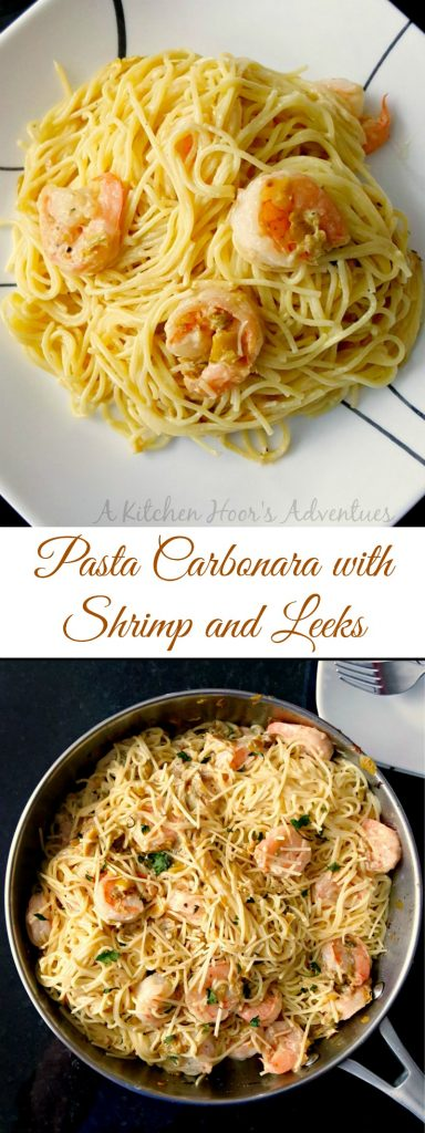 Pasta Carbonara with Shrimp and Leeks is a fast paced recipe that tastes amazing and is on the table super quick! The eggs combine with the cheese to make a silky smooth sauce for the pasta.