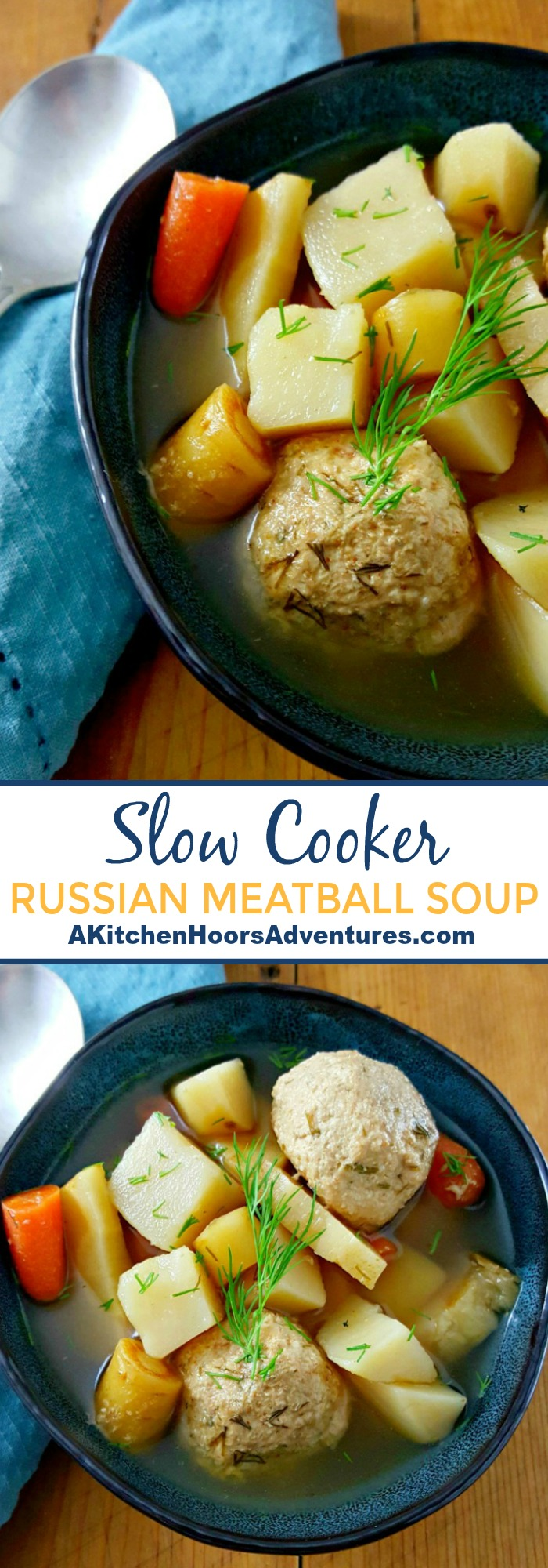 Slow Cooker Russian Meatball Soup is full of vegetable goodness, hearty chicken, and lots of delicious dill flavor!