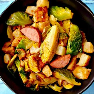 Kielbasa and Sprouts Hash