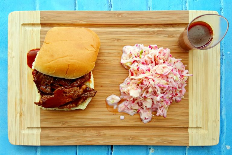 Heinz BBQ Memphis Sweet & Spicy is the only barbecue sauce you need to make this delicious Memphis BBQ Pot Roast. The Garlic Radish Slaw has seven simple ingredients found in every kitchen. Together they make an amazing, barbecue meal for any summer or holiday gathering. #MadeWithTheMasters #HeinzBBQ #ad