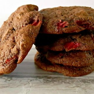 Double chocolate chip cookies are laced with fresh, in season, strawberries making these Chocolate Covered Strawberry Cookies taste like their namesake.
