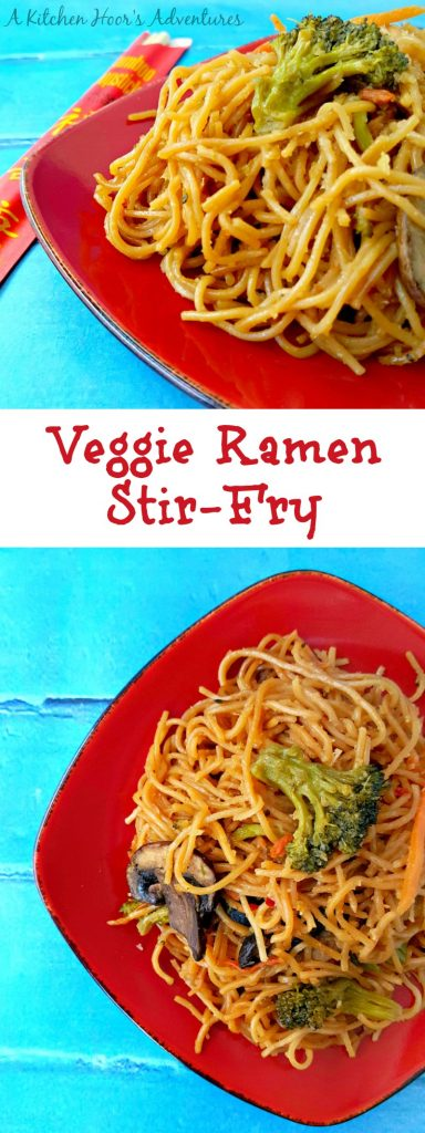 On even the busiest of days, you can whip up a delicious and healthy meal for your family with this Veggie Ramen Stir-Fry! @AKitchenHoor