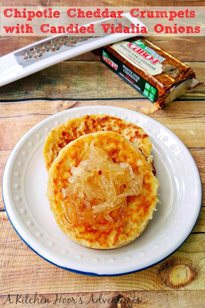 These Chipotle Cheddar Crumpets with Candied Vidalia Onions are not your granny's recipe! The Cabot cheddar, Vidalia onions, and stellar Red Star Yeast all come together in these non-traditional crumpets. #BrunchWeek @AKitchenHoor