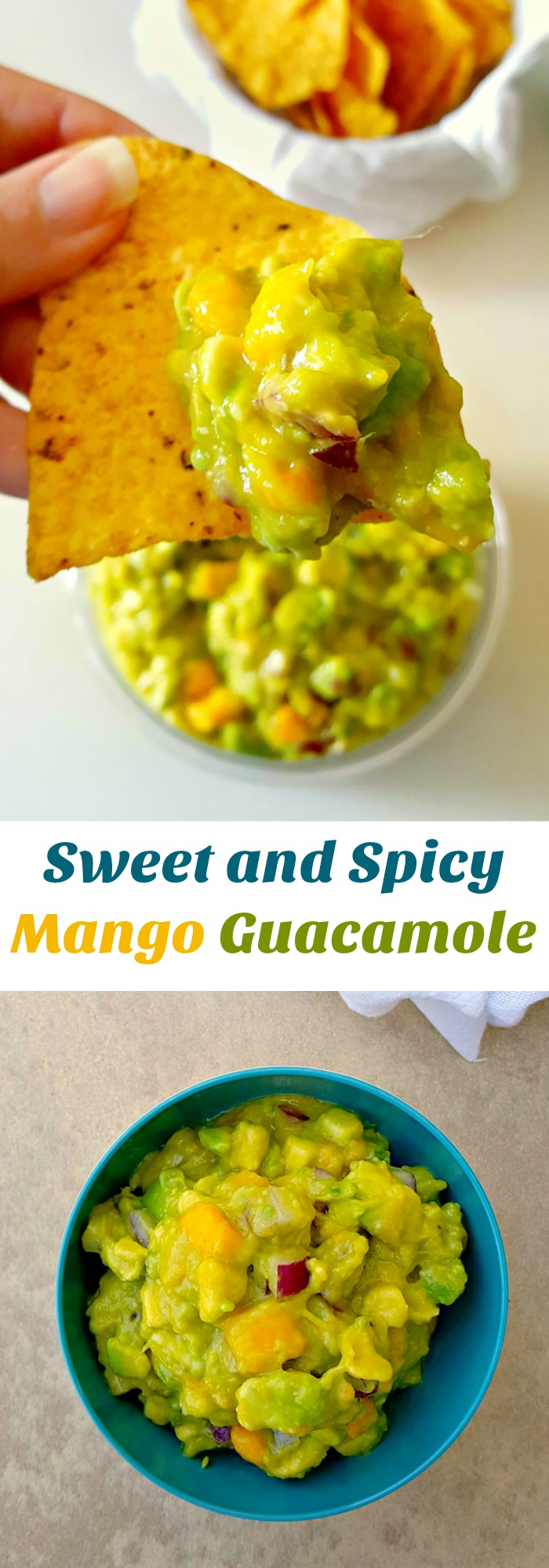 Creamy avocado, sweet mango, and spicy jalapeno make this Sweet and Spicy Mango Guacamole irresistable
