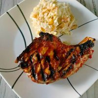 Pineapple Barbeque Chops with Colada Slaw