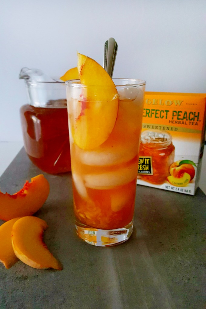I've muddled fresh peaches with delicious #Bigelow Perfect Peach Iced for the ultimate Muddled Peach Tea to cool you off this summer.