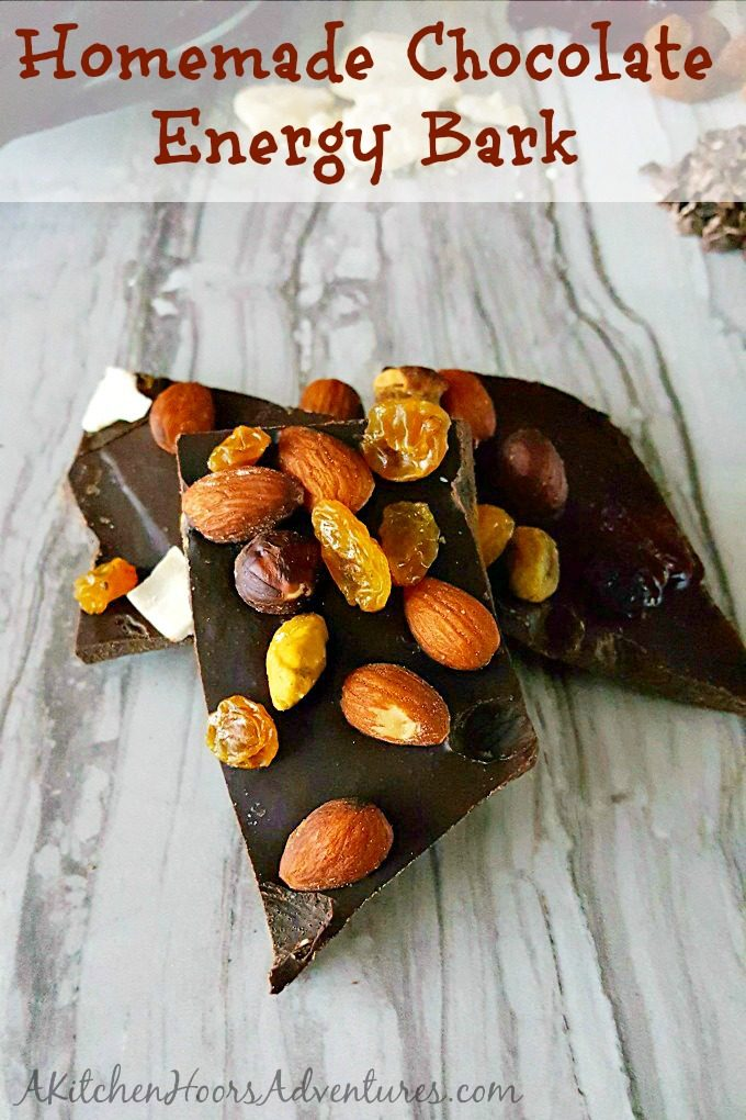 This Homemade Chocolate Energy Bark is the perfect afternoon snack filled with heart healthy almonds, dried fruit, and delicious homamde chocolate. Homemade chocolate is easy and you can make it as dark and as sweet as you want. #Choctoberfest #ad