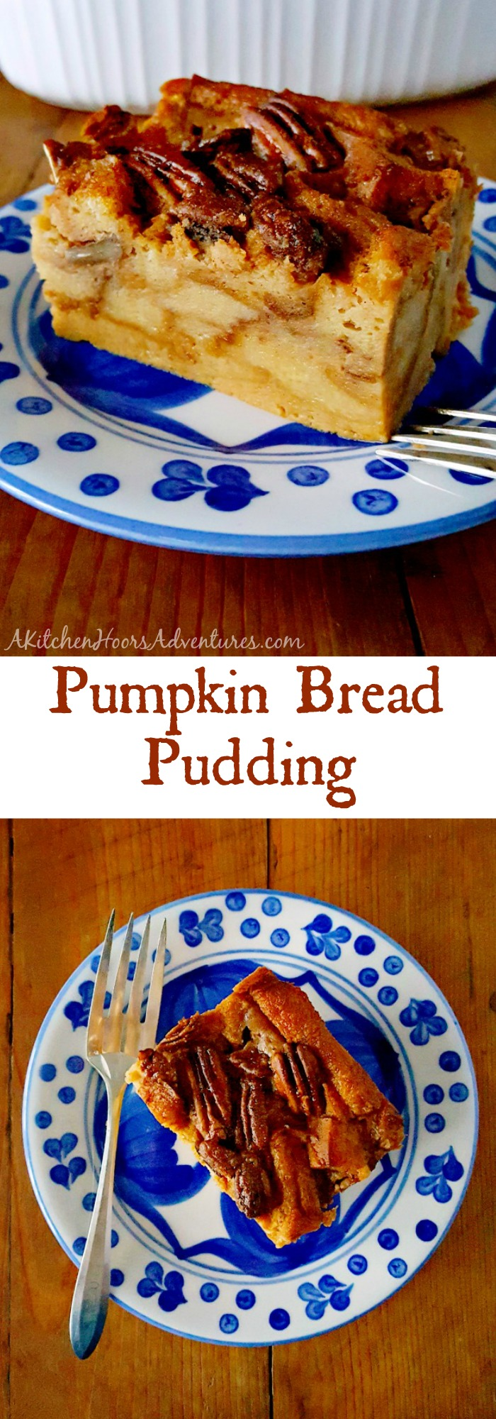 Baked donuts turned bread pudding, this Pumpkin Bread Pudding is fall in a pan with pockets of caramel bits and crunchy pecans on top! Perfect ending to #PumpkinWeek.