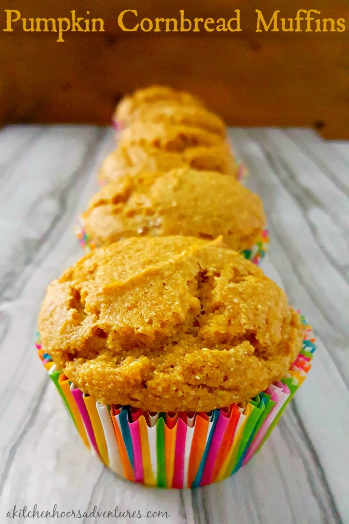 Southern sweet cornbread is infused with delicious pumpkin in these quick muffins. Pumpkin Cornbread Muffins taste like fall in a small, tasty, package.