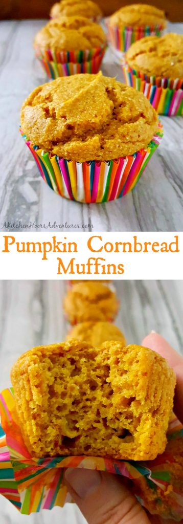 Southern sweet cornbread is infused with delicious pumpkin in these quick muffins. Pumpkin Cornbread Muffins taste like fall in a small, tasty, package. #PumpkinWeek