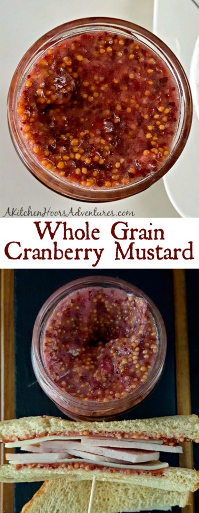 This Whole Grain Cranberry Mustard is simple to make, uses up leftover cranberry sauce, and tastes amazing on your leftover turkey sandwiches. Or any sandwich for that matter! #CranberryWeek