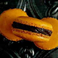 Tangerine and Dark Chocolate Macaron