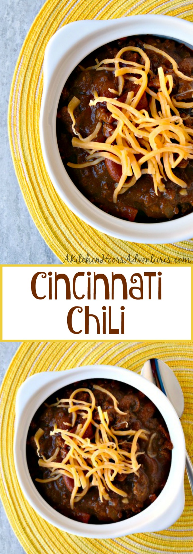 Cincinnati Chili is decidedly different and delicious.  This chili is a combination of Macedonia and Greek flavors mixed with conventional chili flavors in a delicious meat stew.