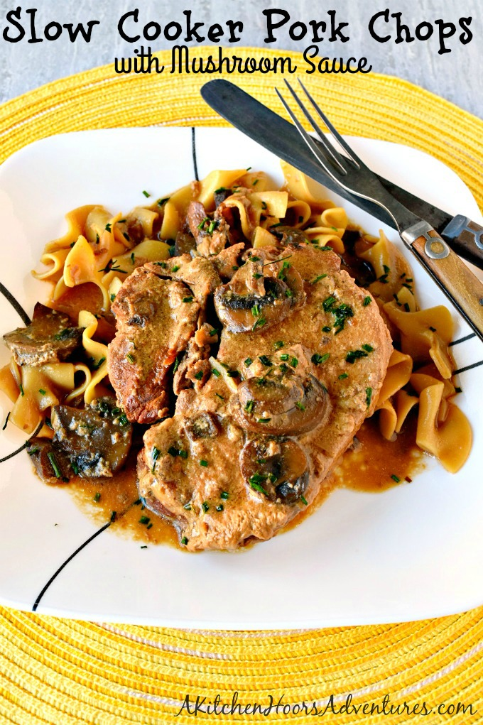 It can't get simpler than throwing all the ingredients in the slow cooker and letting it do the work for you. Slow Cooker Pork Chops with Mushroom Sauce are not only super easy but SUPER delicious, too! Your family will ask for these all the time. #SundaySupper