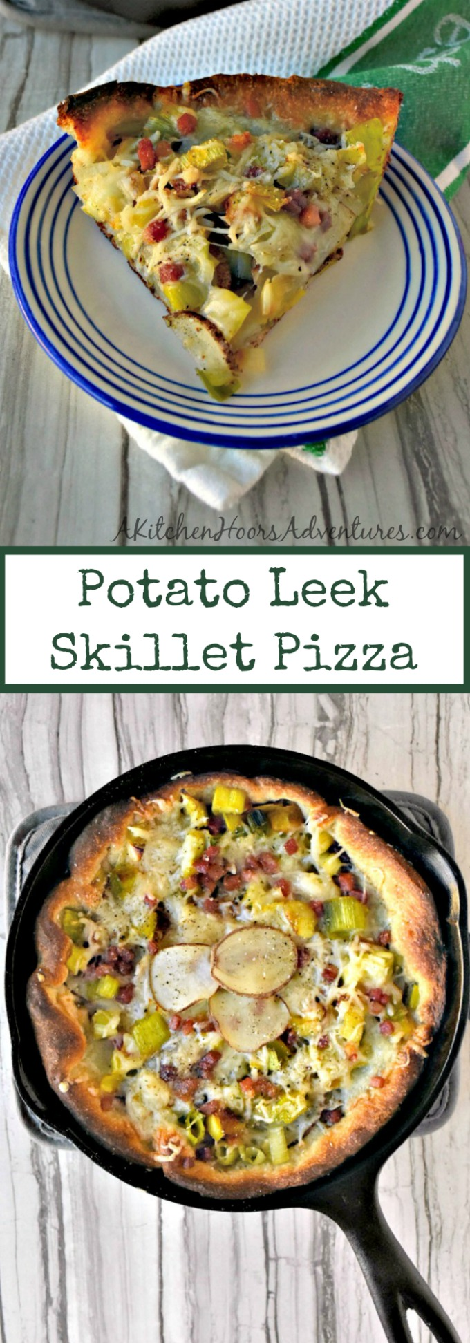 Potato Leek Skillet Pizza packs amazing flavor in a small package. All the delicious flavors are used in moderation for this crispy crusted appetizer or main dish pizza.