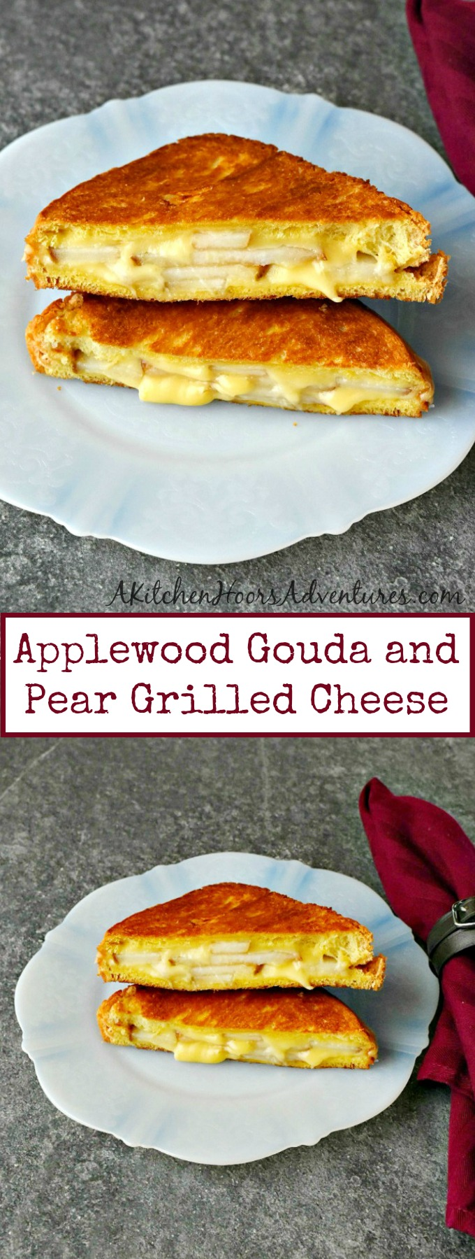 Smokey applewood gouda and crispy, sweet pears make the most amazing combination.  Applewood Gouda and Pear Grilled Cheese is a delicious grilled cheese that everyone will love!! #SundaySupper