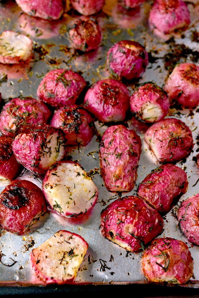 Roasting radishes changes their flavor completely! If you haven't roasted radishes, then try these Dill Roasted Radishes for a different #Easter side dish. #EasterRecipes