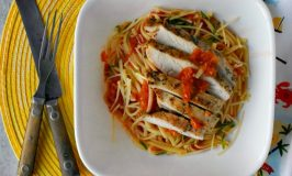 Grilled Chicken and Pasta with Grated Tomato Sauce