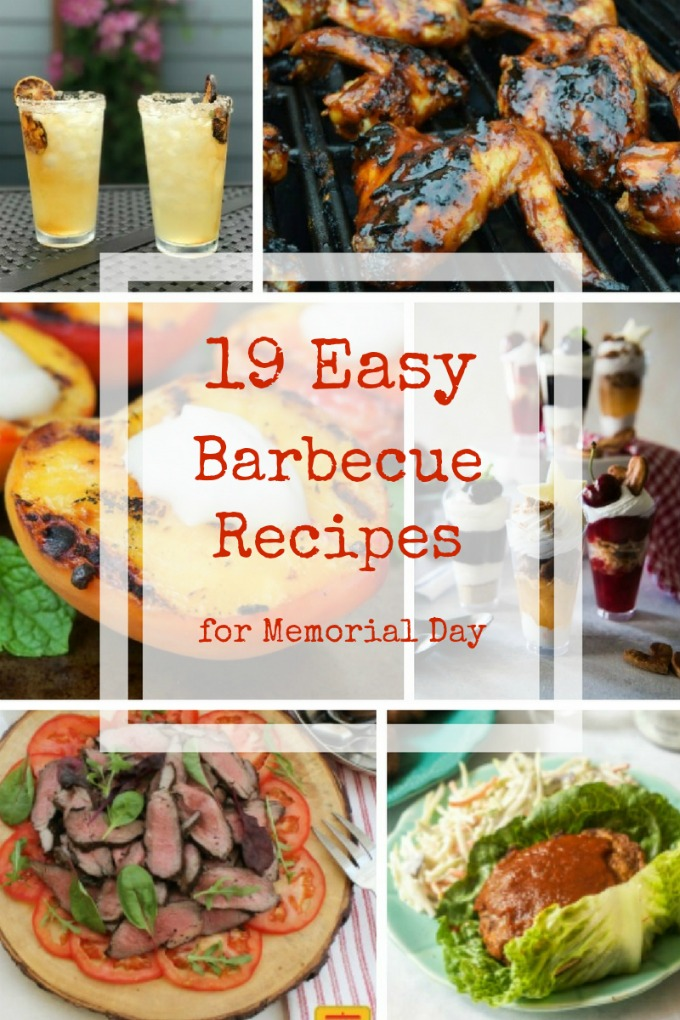 It's a roundup of 19 easy barbecue recipes for Memorial Day to kick off summer grilling! From appetizers, to burgers, to dessert there's something for everyone! #SundaySupper
