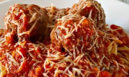 Grilled Meatballs and Spaghetti