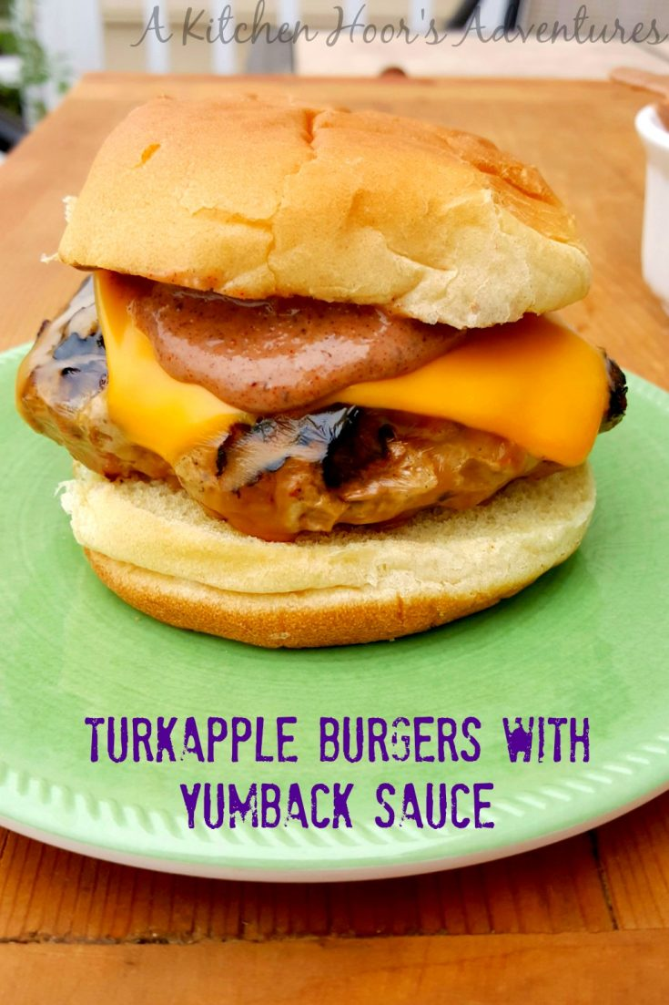 Turkapple Burgers with Yumback Sauce have ground turkey, apples, onions, and jalapenos topped with a delicious yumback sauce made with Blueberry White Pepper fruit ketchup.  They're flavor packed and perfect for Memorial Day!