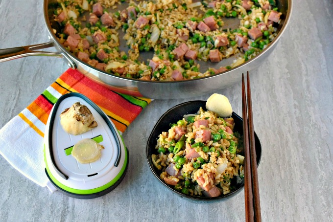 Ham and Pea Fried Rice is quick and easy. It's made even more quick and easy with the KitchenIQ Grate Ginger Tool! It grates ginger in minutes and slices in seconds. #worksmarter #sharpenyourkitcheniq
