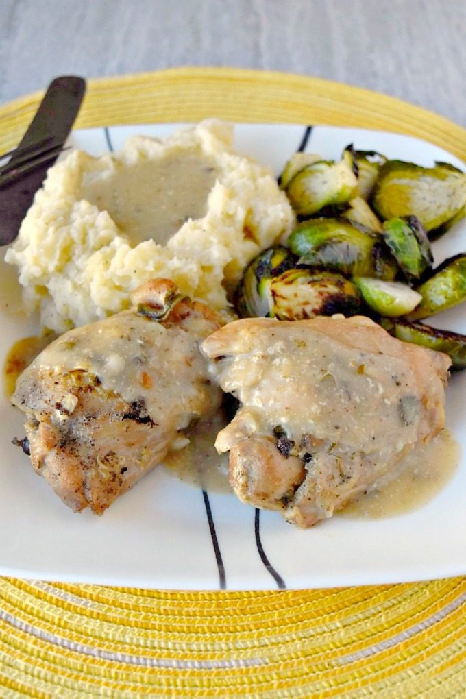 Milk makes the most tender chicken and delicious gravy. Milk Braised Chicken Thighs are beyond fork tender and packed with delicious flavor. #DairyWeek